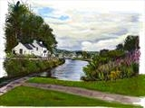 Crinan Canal from Cairnbaan by Richard Liley, Artist Print, iPad drawing