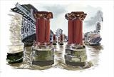 Old Blackfriars bridge red columns by Richard Liley, Drawing, Ipad Drawing