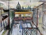 Rooftop view to the Vatican by Richard Liley, Drawing, Graphite, coloured pastel and tinted charcoal