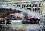 Two bridges Blackfriars and red columns by Richard Liley, Artist Print