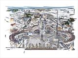 Vatican City vista by Richard Liley, Drawing, iPad drawing