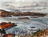 View to corryvreckan by Richard Liley, Painting, Watercolour on Paper